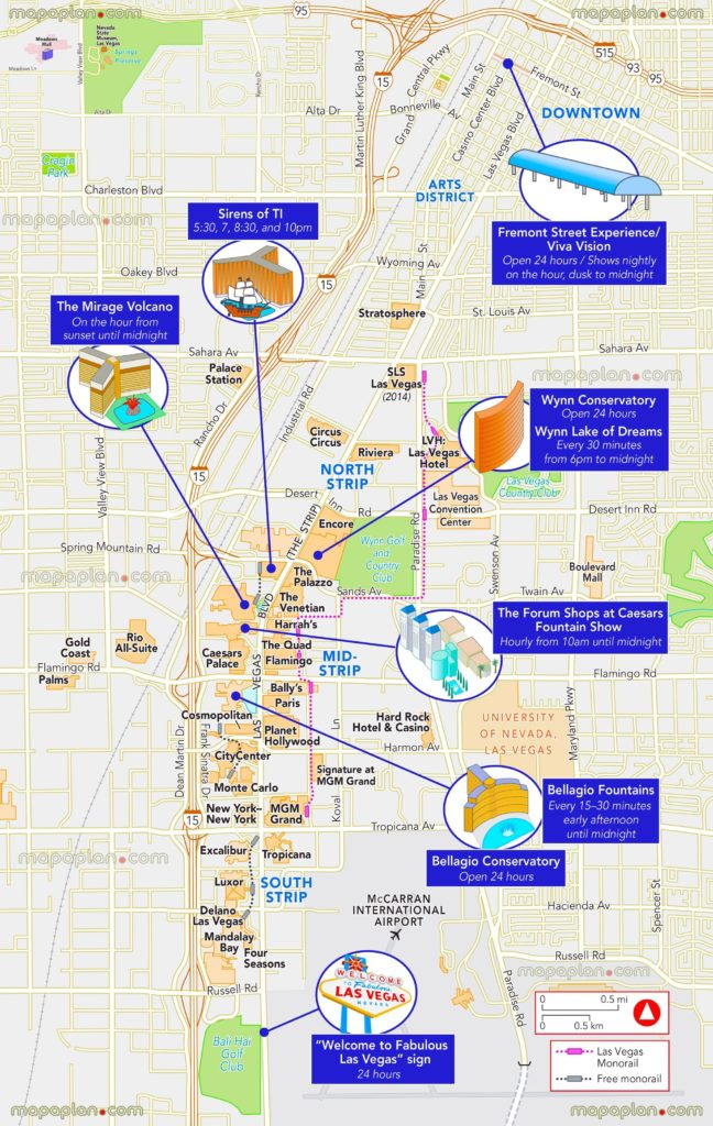 Miracle Mile Las Vegas Map.4 Las Vegas Strip Map Of 1 Attractions Hotels Monorail Maps
