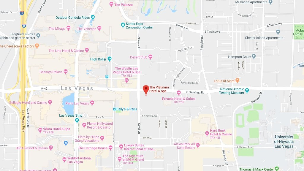 Platinum Condo Hotel Las Vegas map