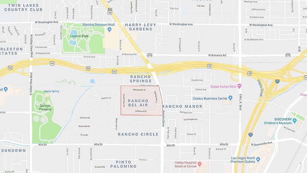 Rancho Bel Air Las Vegas Homes for Sale map