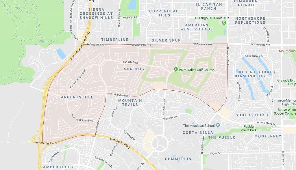 Sun City Las Vegas Homes for Sale map